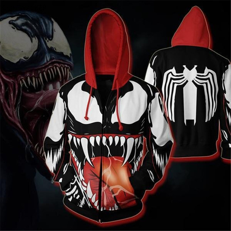 Dropshipping 3D Print Spring Autumn Zipper Hoodies For Men Sweatshirt Avengers Venom Casual Long-sleeved Hooded Pullovers Tops