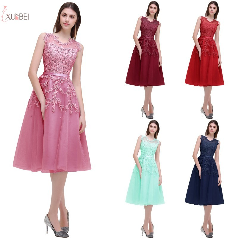 2019 Burgundy Navy Blue Short   Bridesmaid     Dresses   Tulle Lace Applique Wedding Party Gown vestido madrinha