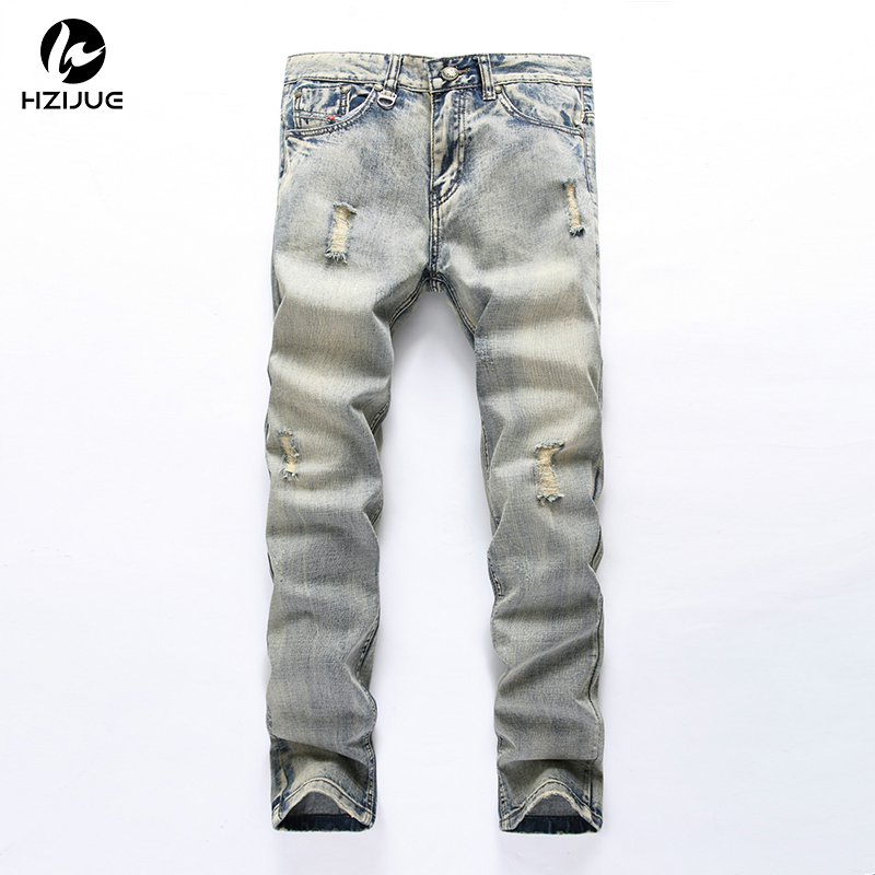 HZIJUE American Style 2017 fashion brand luxury cotton Men casual denim jeans trousers Straight blue slim hole jeans for men
