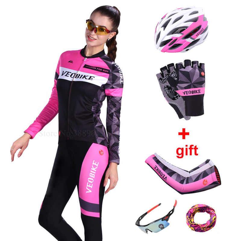 VEOBIKE 2019 Pro takım bisiklet kıyafetleri Ciclismo bisiklet Jersey seti kadın dağ bisikleti giyim Mtb giyim 5D spor uzun pantolon takım elbise