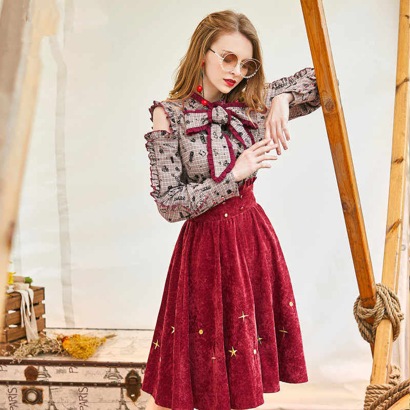 Spring Autumn Dress 2019 Vintage Party Dress for Women Korean Red Dress Elegant Two-piece Set Clothes Dresses Vestidos MY2183