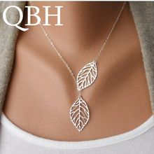 NK607 New Punk Fashion Minimalist Two Leaves Pendant Clavicle Necklaces For Women Jewelry Gift Tassel Summer Beach Chain Collier(China)