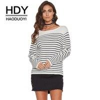 HDY Haoduoyi Marque Femmes Rayé Pull O-cou de Split Retour Lace Up Lady Sexy Pulls Dame De Mode Doux Lâche Tops