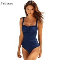 2018 One Piece Swimsuit Women Plus Size Swimwear Female Solid Bathing Suit Vintage Monokini Bodysuit Beach