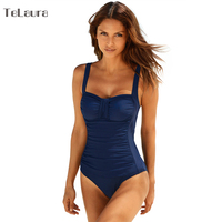 2018 One Piece Swimsuit Women Plus Size Swimwear Female Solid Bathing Suit Vintage Monokini Bodysuit Beach
