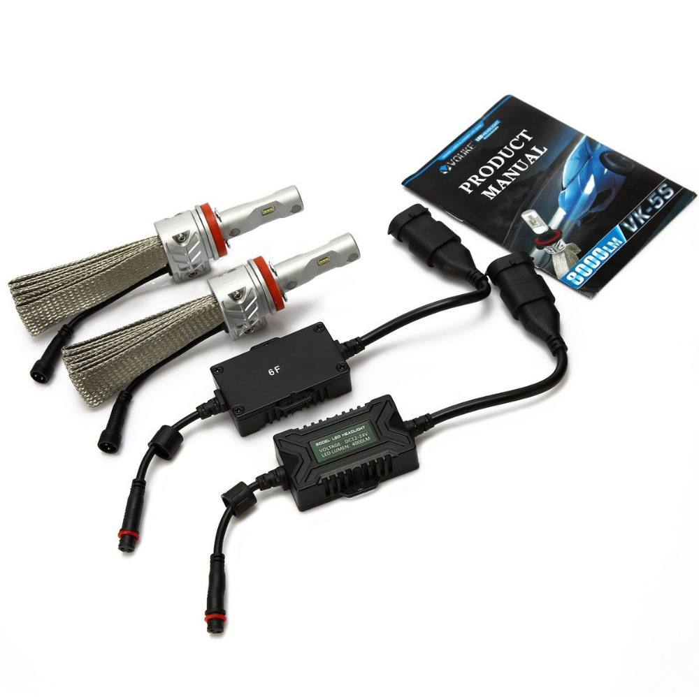 1Set H8 H9 H11 H16JP 8000LM Car LED Headlight Conversion Kit For Fog DRL Replace Light Source Driving Bulbs with Copper Cooling 2 pieces h7 cree chip led 40w replacement 7200lm car drl fog auto led headlight conversion driving bulb car light source