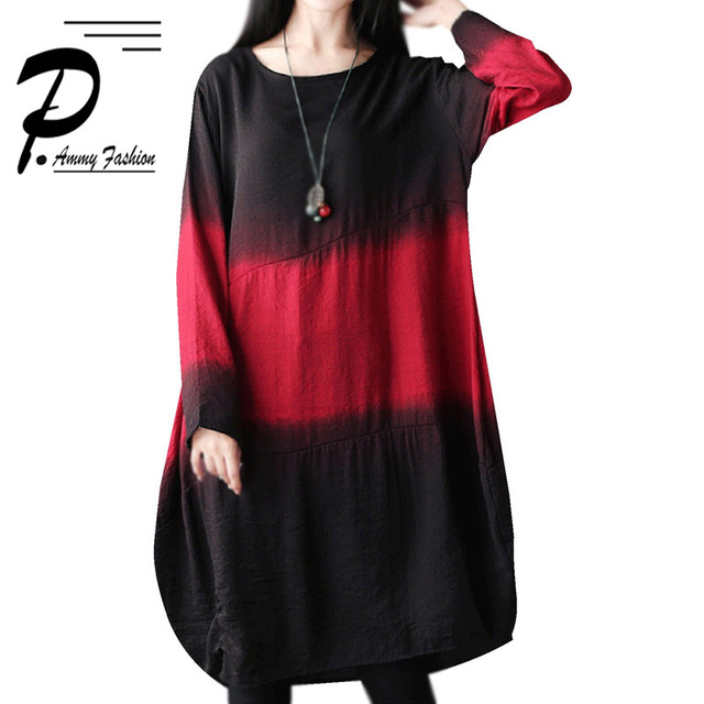 c71d0b550bf4 Women s Oversized Linen Cotton Gradient Color Jumper Dress Long Sleeve Crew  Neck Loose Tunic Dress Autumn