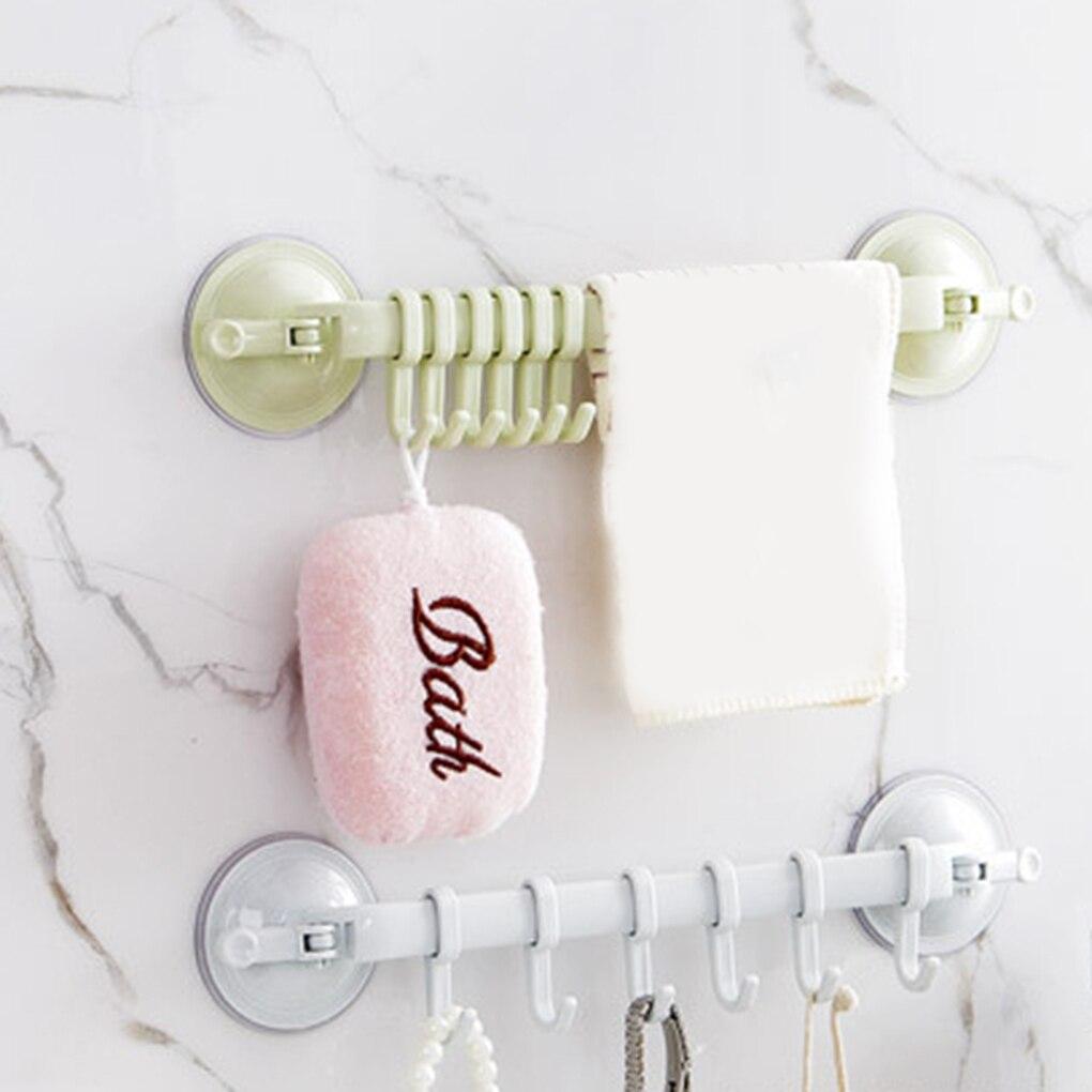 2018 date cuisine salle de bains Non-trace forte ventouse Rack crochet avec 6 crochets pour serviette cuillère