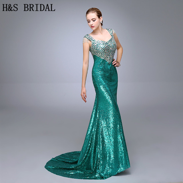 Dazzling V Neckline Evening Dress Sleeveless Straps Crystal Beaded Green Sequins  Prom Dresses 2017 Pageant Gowns Floor Length d97ebf7d566f