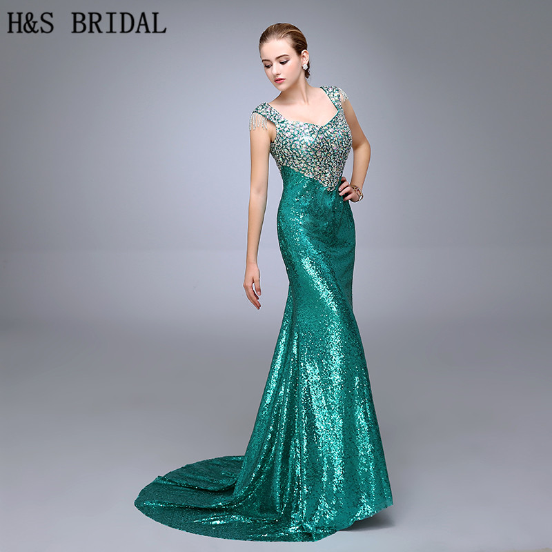 Dazzling V Neckline   Evening     Dress   Sleeveless Straps Crystal Beaded Green Sequins Prom   Dresses   2017 Pageant Gowns Floor Length
