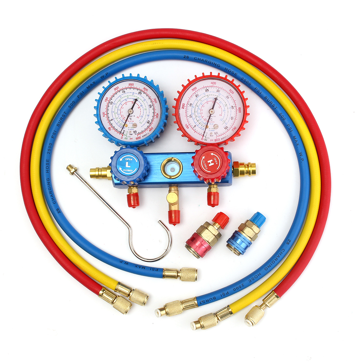лучшая цена Manifold Gauge Set A/C R134A with 2 Quick Coupler Cable Set for R134A Air-conditioning Refrigeration Auto Manifold Gauge