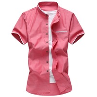 Mens Shirts Big Sizes M 7XL 2017 Fashion Men Slim Fit White Shirt Mandarin Collar Short