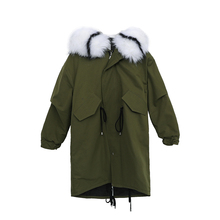 2019 New woman Long XL Parker Style Large Size Jacket Slim Cotton Coat Female Fur Collar Thick Hooded Winter