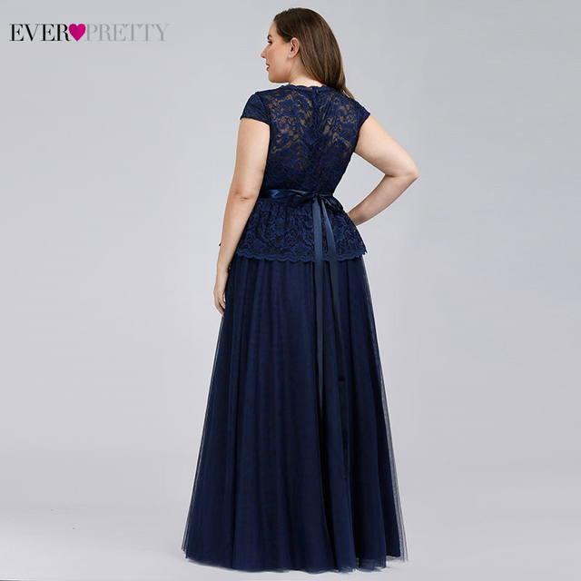 Navy Blue Evening Dresses Ever Pretty A-Line V-Neck Bow Sashes Elegant Evening Gowns Plus Size Lace Formal Dresses Robe Longue 3