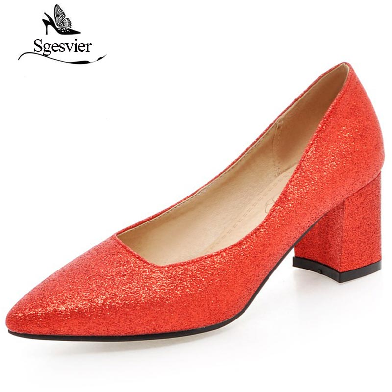 SGESVIER New Spring Women Shoes Pumps Thick High Heel Shoes Solid Pointed Toe Party Wedding Shoes Slip On Big Size 30-48 OX173 new 2016 spring summer shoes woman high heels shoes party wedding pointed toe women pumps size 40 48 solid heeles shoes