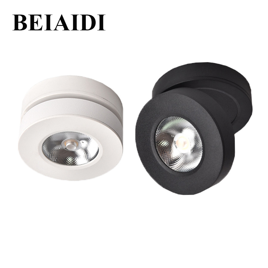 BEIAIDI Ultra-thin LED Surface Mounted Downlight 3W 5W 7W Round Ceiling Spotlight Angle Adjustable Downlight Lamp For Home StoreBEIAIDI Ultra-thin LED Surface Mounted Downlight 3W 5W 7W Round Ceiling Spotlight Angle Adjustable Downlight Lamp For Home Store