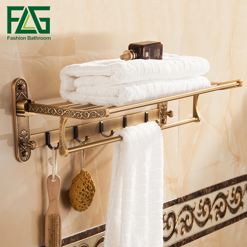 FLG Bath Towel Racks Space Aluminum Bathroom Towel Holder Antique Double Towel Shelf Bathroom Accessories whole brass blackend antique ceramic bath towel rack bathroom towel shelf bathroom towel holder antique black double towel shelf