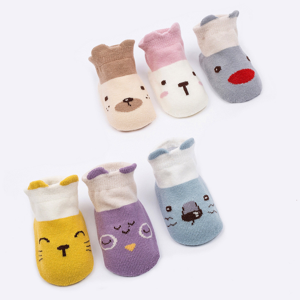 Infant Toddler Baby Boys Girls Cartoon Animals Anti-Slip Knitted Warm Socks