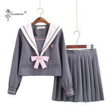 Uniformes Japon Colegio uniforme para chicas Sailor Suit estudiantes Anime escuela disfraces gris 2 piezas conjunto falda(China)