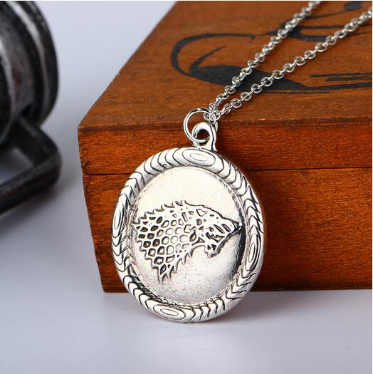 1pcs/antique silver Game of Thrones House Stark Necklace Winter Is Coming Wolf Head pendant Necklace ...