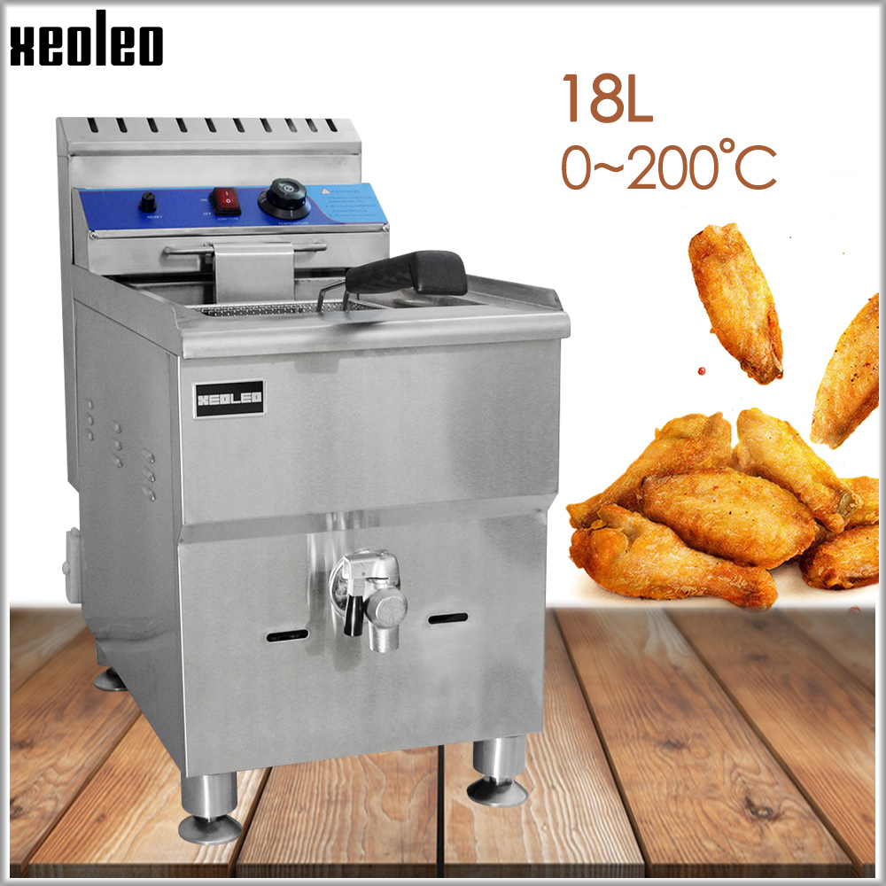 XEOLEO Commercial Gas Deep Fryer Stainless Steel Fried French Machine Single Tank LPG Frying Machine With Oil Valve For KFC 18L
