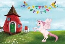 Laeacco Cartoon House Grassland Unicorn Party Baby Photography Backgrounds Customized Photographic Backdrops For Photo Studio