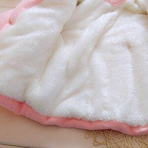 Image 5 - Winter Baby Parka dodatkowo pogrubiony aksamit dziewczynek odzież na śnieg niemowlę dziewczynki odzież wierzchnia płaszcz dwurzędowy łuk małe dziewczynki odzież