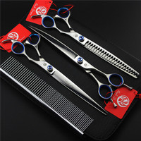 Purple Dragon 7/8 Inch Professional Dog Grooming Scissors Pets Shears Set Cutting+Curved+Thinning+Steel Comb+Case High Quality