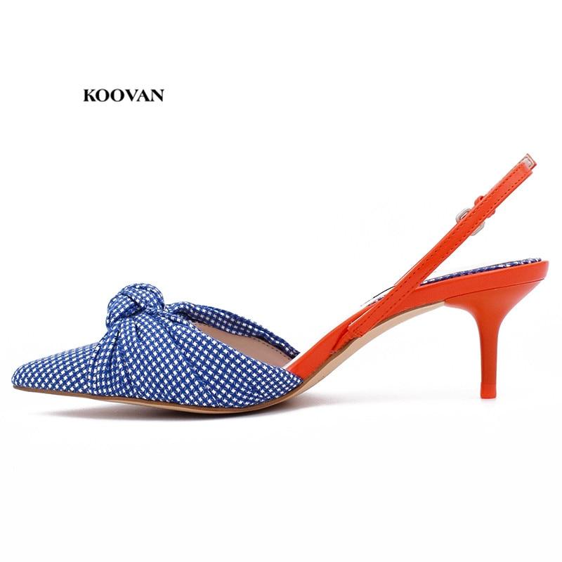 Koovan Women s Sandals 2018 Summer New Blue White Plaid Girls Sandals Female High heeled Buckle