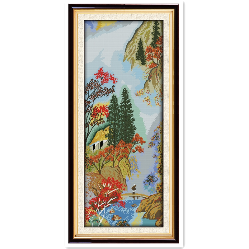 Cloud In The Hills Paintings Chinese Counted Cross Stitch Patterns Kit Home Decor 11CT Printed On Canvas DMC Cross Stitch Fabric
