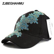 ZJBECHAHMU Hats Fashion Solid Cotton Adjustable Baseball Caps For Women Girls Floral Hip Hop Snapback Hat Apparel Accessories