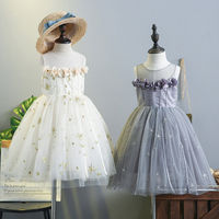5345 Star Moon Embroidery Petals Princess Party Girls Dress A Line Summer Kids Dresses For Girls