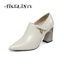 AIKELINYU 2019 New Spring Women Genuine Leather Shoes 7.5 Cm Wedding High Heels Size 34 -43 Block Heel Pumps