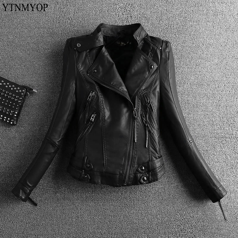 YTNMYOP 2019 Leather Women Jacket Black Motorcycle Leather Coat Outerwear Zippers Short Spring Clothing Autumn Biker