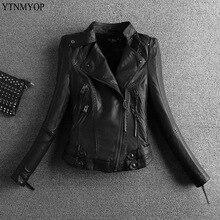 YTNMYOP кожаная женская куртка черная мотоциклетная кожаная куртка Верхняя одежда на молнии Короткая весенняя одежда осенняя Байкерская замшевая