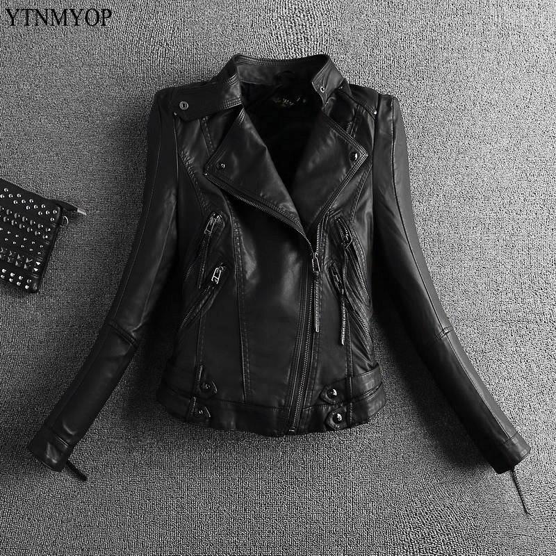 YTNMYOP 2019 レザーの女性のジャケットオートバイの革のコート上着ジッパーショート春服秋バイカースエード  グループ上の レディース衣服 からの レザー & スエード の中 1