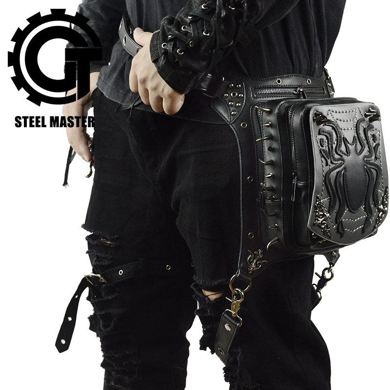 Rock Men's Leg Bags Steampunk Gothic Animal Fanny Pack Retro Black Leather Waist Bag Crossbody Messenger Phone Case Holder
