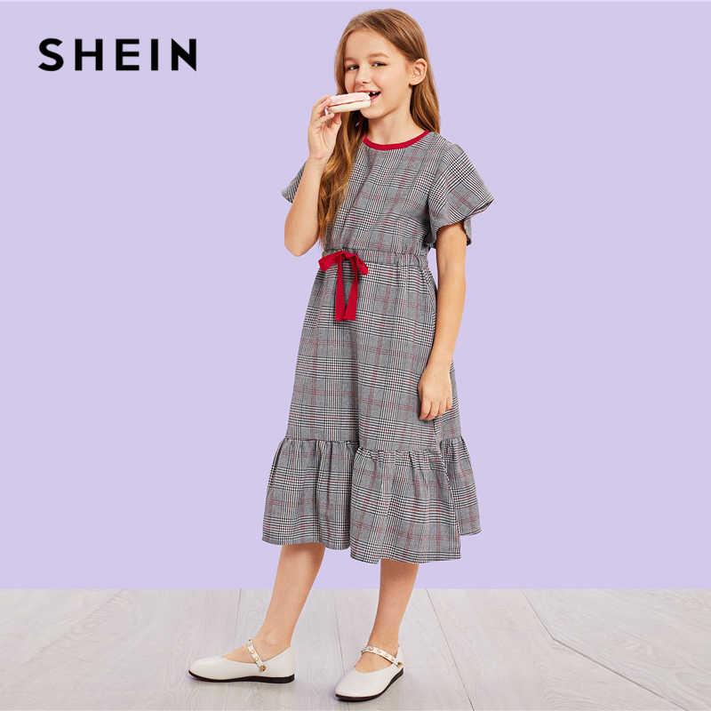 f0a715107e2be SHEIN Kiddie Plaid Ruffle Zipper Drawstring Waist Casual Girls Dress 2019  Summer Cap Sleeve Shift Long Kids Dresses For Girls