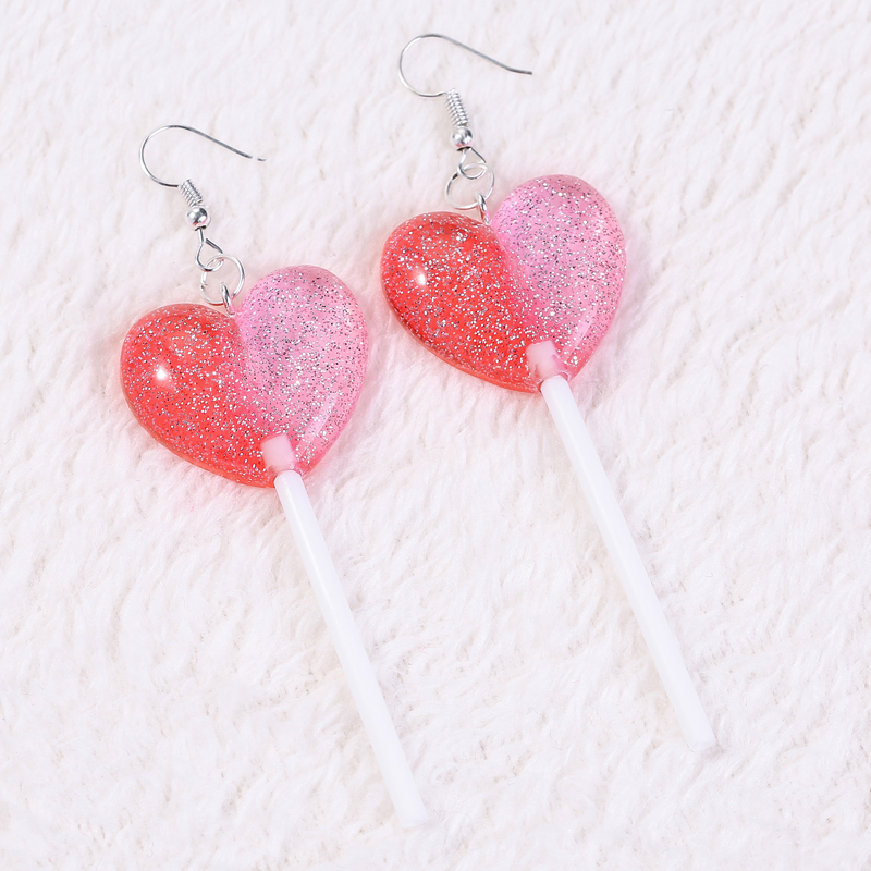 Unique gradient pink clay earrings  Star and Heart shaped earrings with glitters.