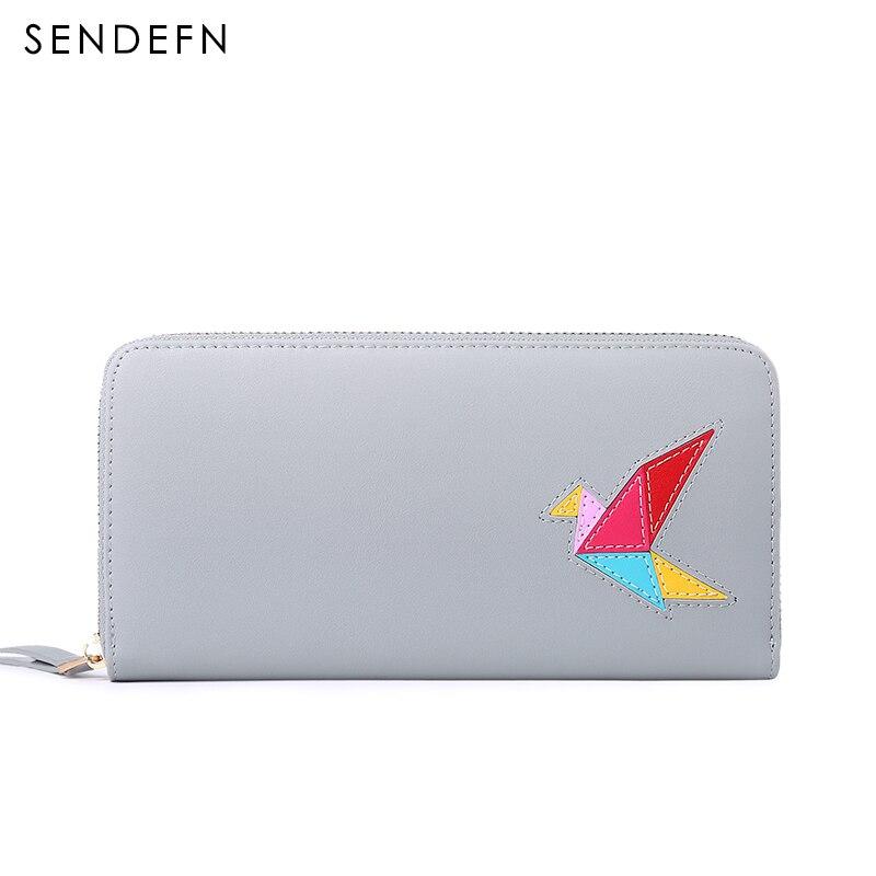 SENDEFN 2017 Split Leather Wallet Bird Women Purse Brand Coin Purse New Wallet Female Long Wallet Women New Purse For iPhone7 bird patch purse