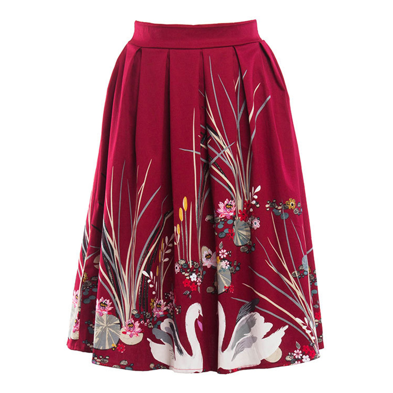 Kostlish 2017 Retro Print Summer Skirts Womens High Waist 50s Vintage Midi Skirt Elegant Slim Big Swing Women Skirt Plus Size (10)