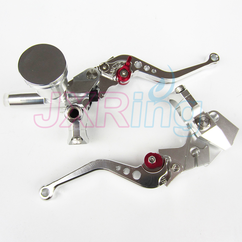 Silver Motorcycle Left&Right Hydraulic Brake & Clutch Master Cylinder Lever With Oil Pump Fit CRF KXF YZF WR RMZ EXC цены онлайн