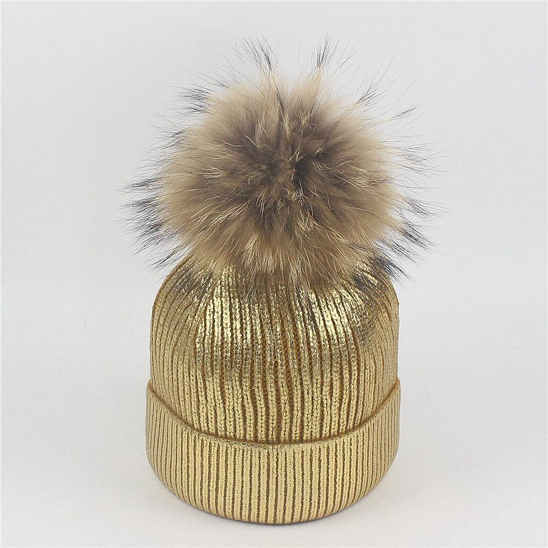 bronzing gold and silver with caps raccoon fur pompon hat for women winter knitting warm hats female skullies beanies