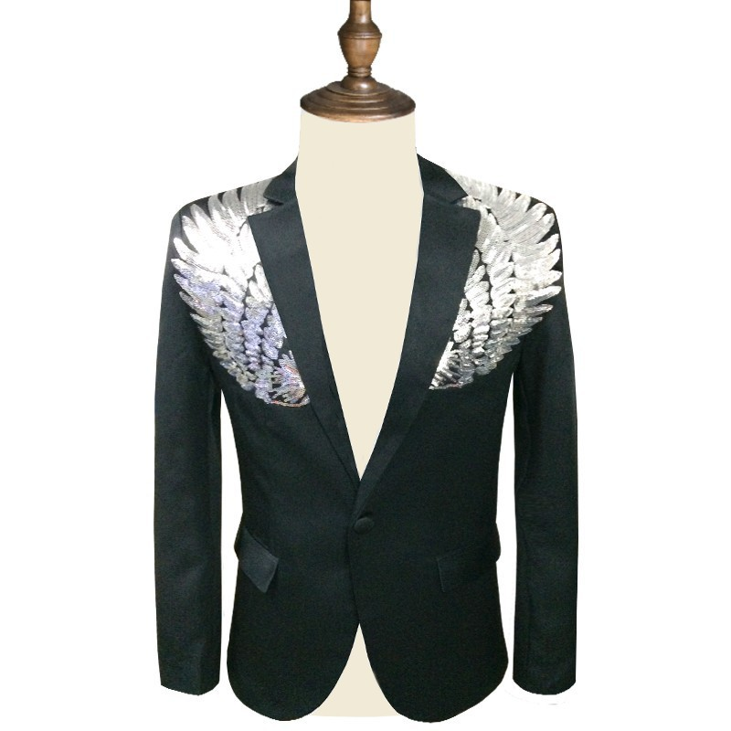 Hombres sequin blazer ala lentejuelas blazer masculino slim fit traje chaqueta de los hombres chaqueta lentejuelas hombre oro plata escenario DJ stagewear