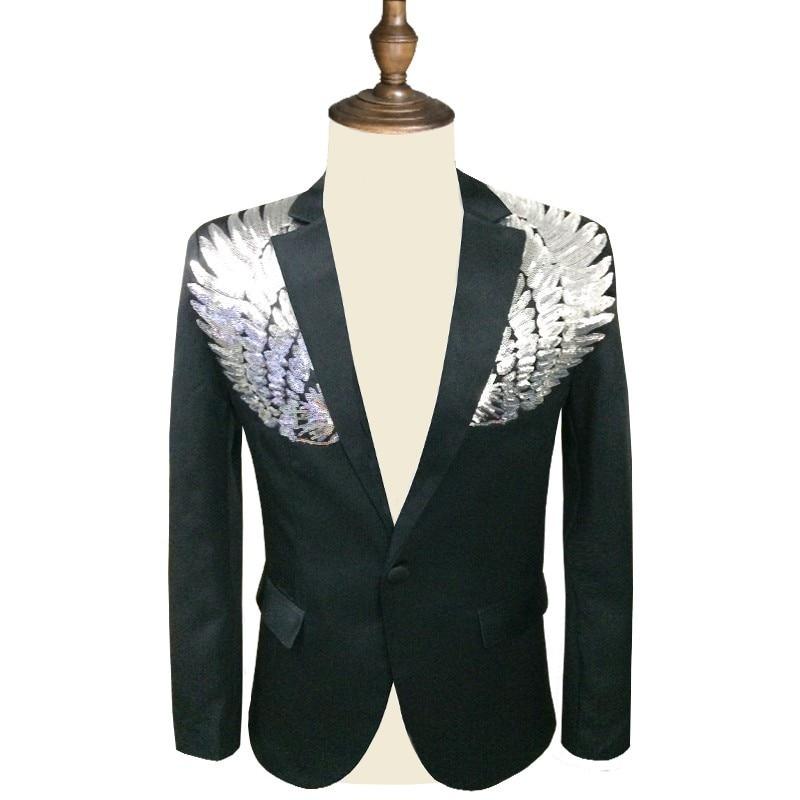 Men Sequin Blazer Wing Sequin Blazer Masculino Slim Fit  Suit Jacket Men Blazer Sequin Homme Gold Silver Stage DJ Stagewear