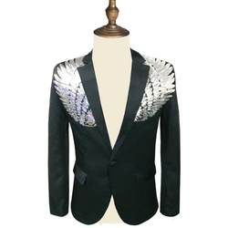 Для мужчин блесток Blazer крыло блесток пиджак Slim Fit пиджак Для мужчин Blazer Sequin Homme цвета: золотистый, серебристый этап DJ Stagewear
