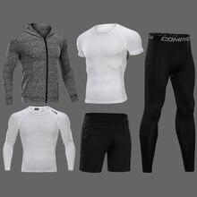 Сжатия Для Мужчин's одежда для бега 3/4/5 шт./компл. быстросохнущая спортивные костюмы баскетбольные тайтсы одежда тренажерный зал Фитнес спортивной