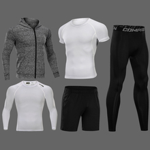 New Compression Men's Running Sets 3/4/5pcs/sets Quick Dry Sport Suits Basketball Tights Clothes Gym Fitness Jogging Sportswear