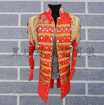 Black Red Men Suits Designs Masculino Homme Terno Stage Costumes For Singers Men Sequin Blazer Dance Clothes Jacket Style Dress