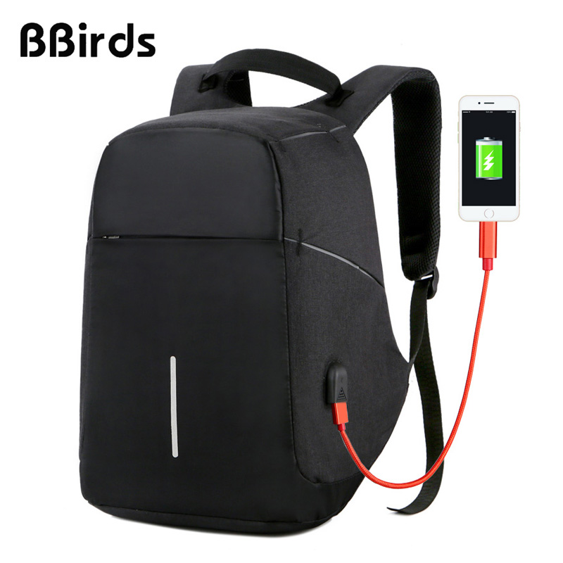 Bbirds Usb Charging Men 15 Inch Laptop Backpacks Waterproof Men's Business Bag Anti Theft Roubo Backpack Nylon School